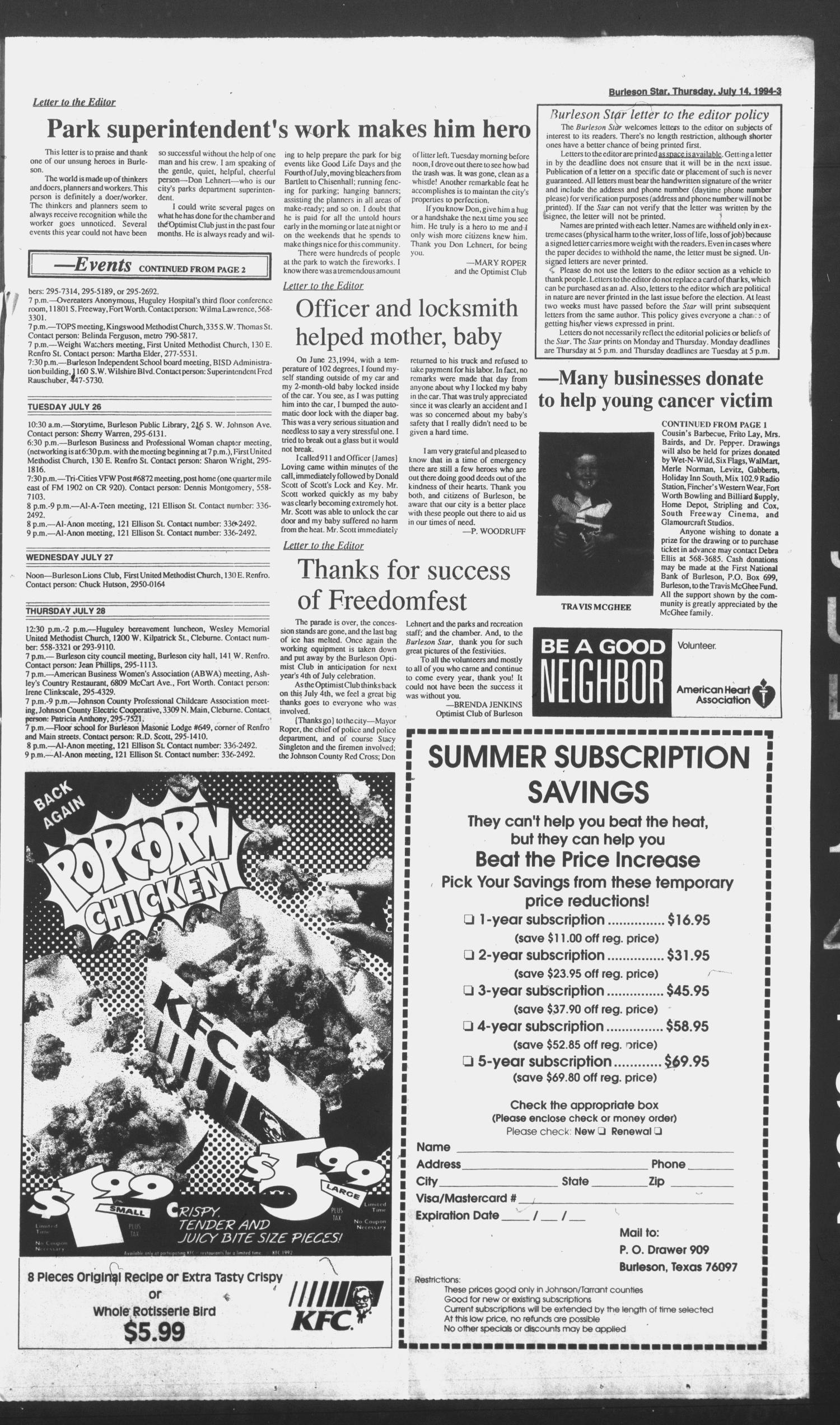 Burleson Star (Burleson, Tex.), Vol. 29, No. 79, Ed. 1 Thursday, July 14, 1994                                                                                                      [Sequence #]: 3 of 6