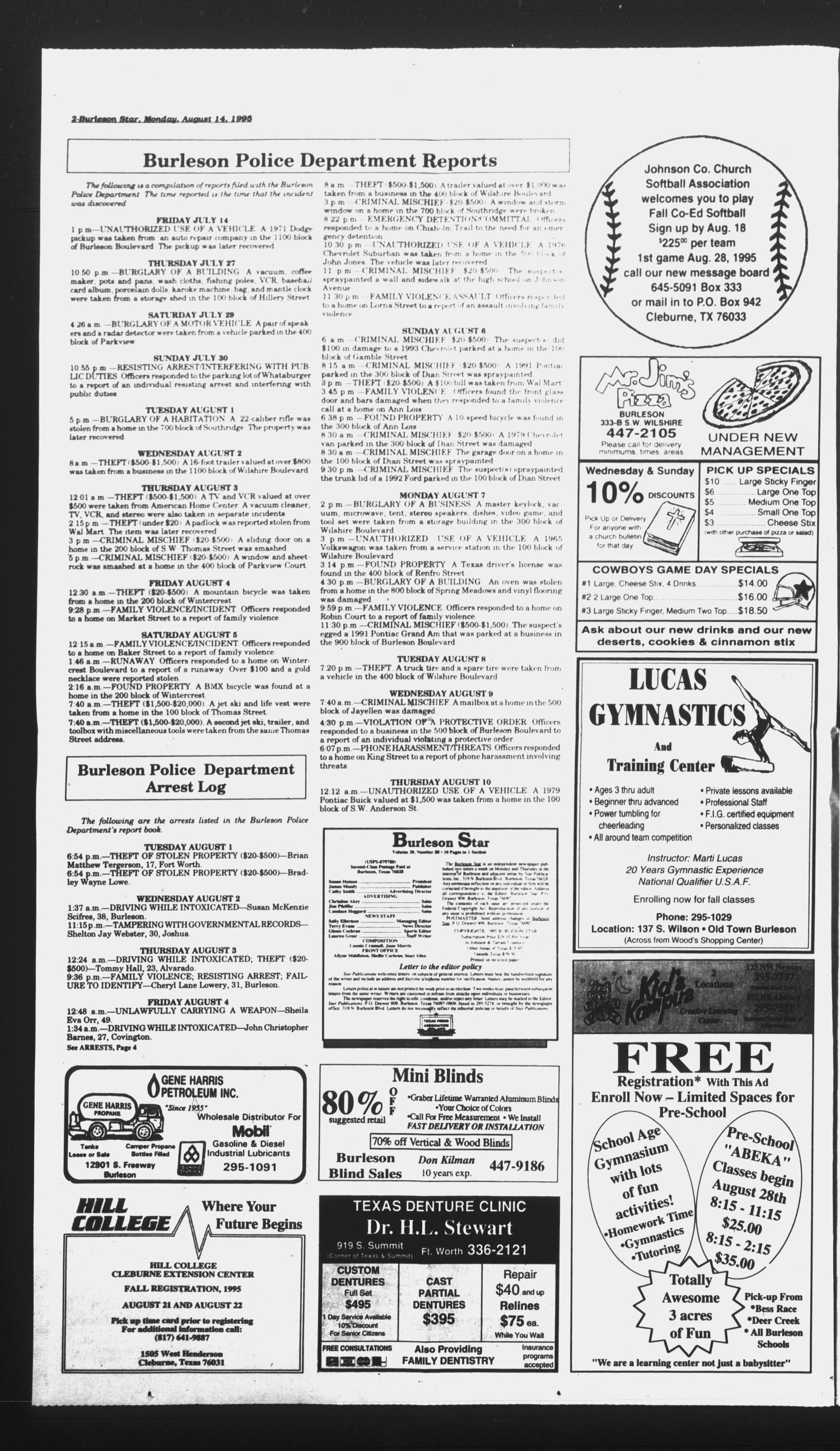 Burleson Star (Burleson, Tex.), Vol. 30, No. 88, Ed. 1 Monday, August 14, 1995                                                                                                      [Sequence #]: 2 of 10