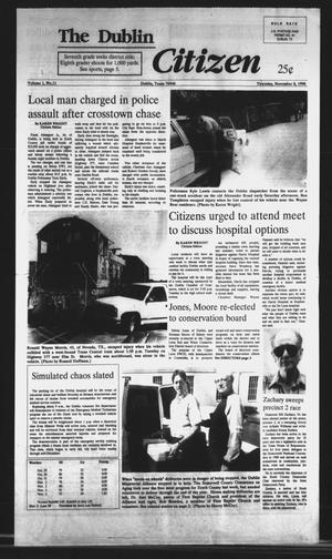 Primary view of object titled 'The Dublin Citizen (Dublin, Tex.), Vol. 1, No. 11, Ed. 1 Thursday, November 8, 1990'.