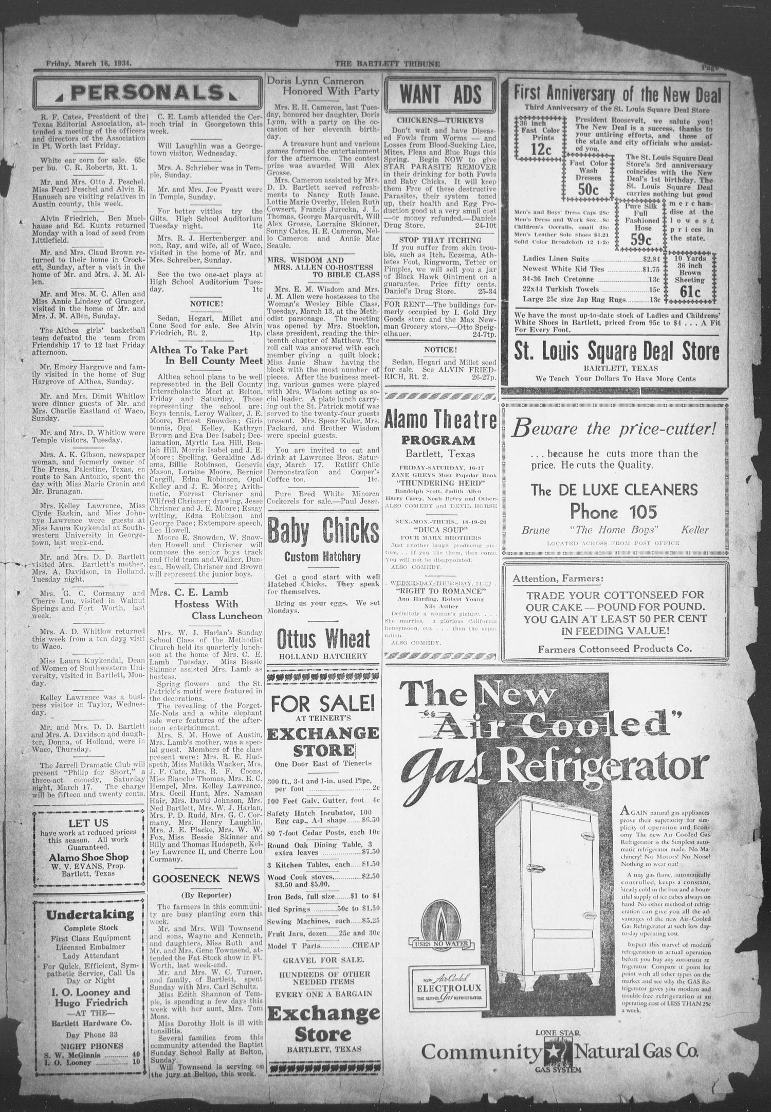 The Bartlett Tribune and News (Bartlett, Tex.), Vol. 47, No. 28, Ed. 1, Friday, March 16, 1934                                                                                                      [Sequence #]: 3 of 4