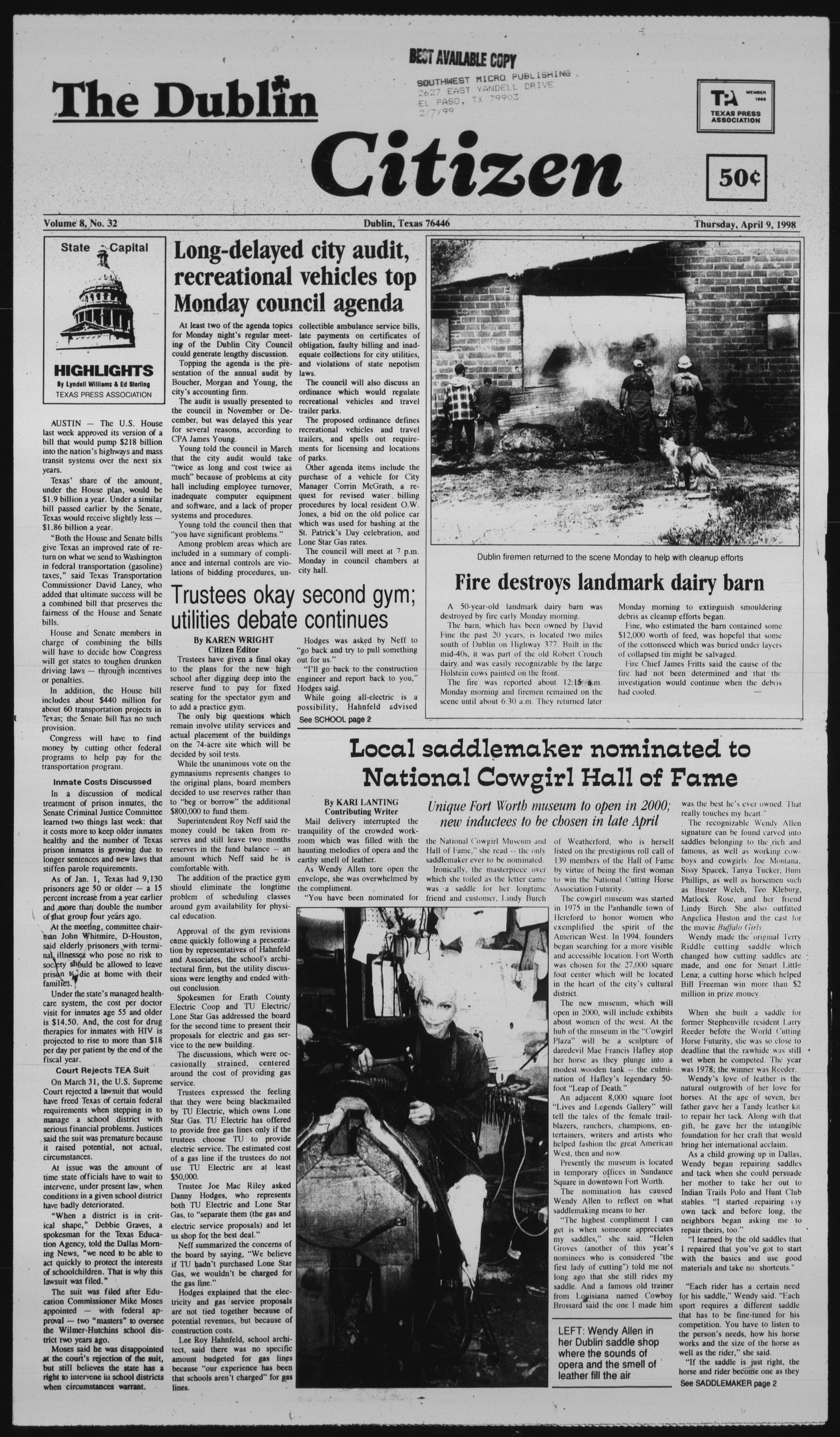 thursday april 9th 1998