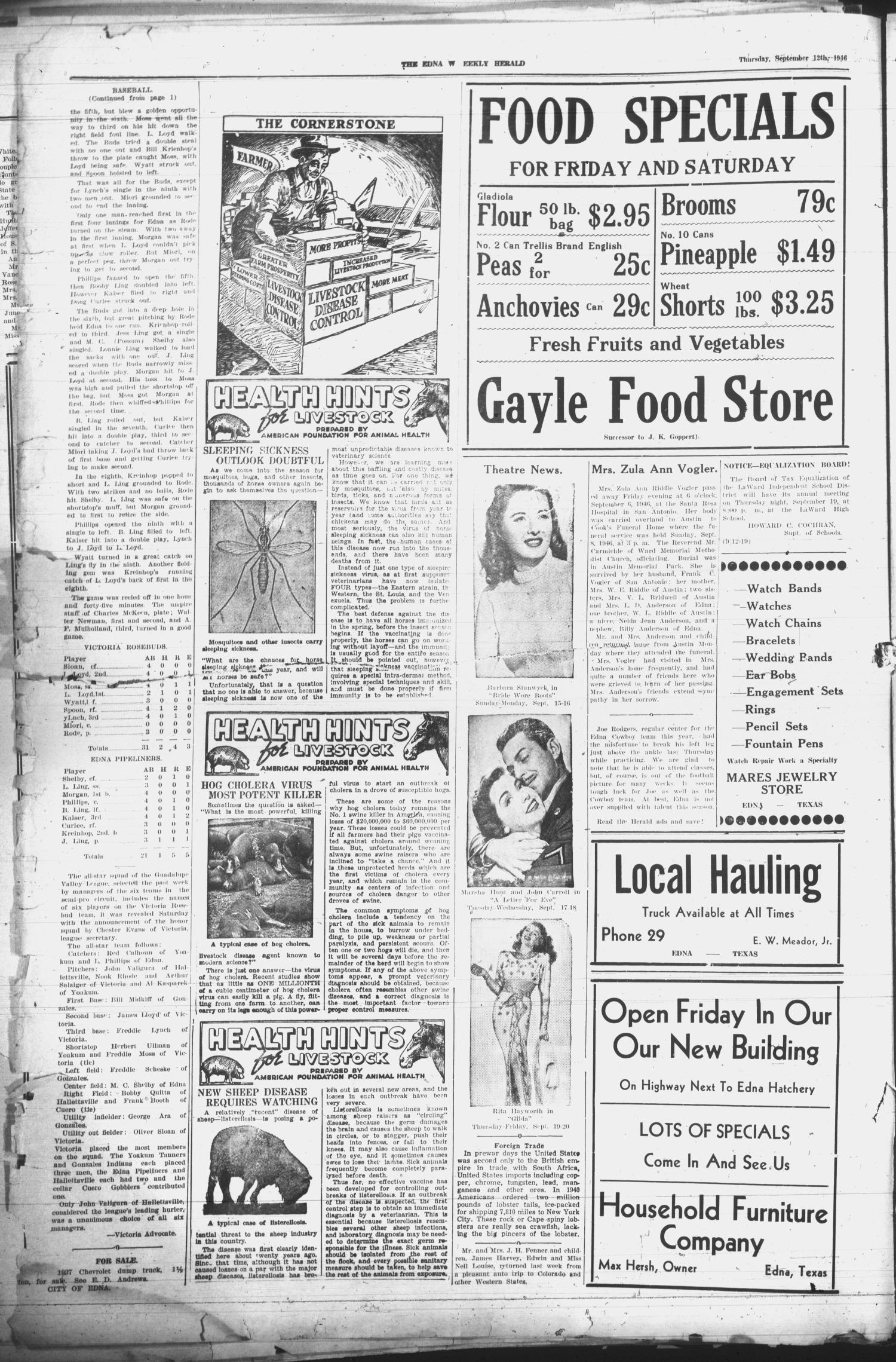 Edna Weekly Herald (Edna, Tex.), Vol. 39, No. 44, Ed. 1 Thursday, September 12, 1946                                                                                                      [Sequence #]: 2 of 12