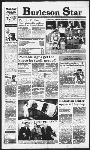 Primary view of object titled 'Burleson Star (Burleson, Tex.), Vol. 30, No. 48, Ed. 1 Monday, March 27, 1995'.