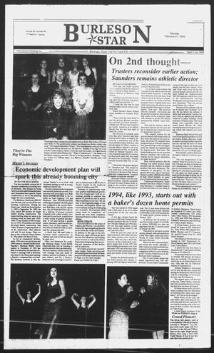 Primary view of object titled 'Burleson Star (Burleson, Tex.), Vol. 29, No. 38, Ed. 1 Monday, February 21, 1994'.