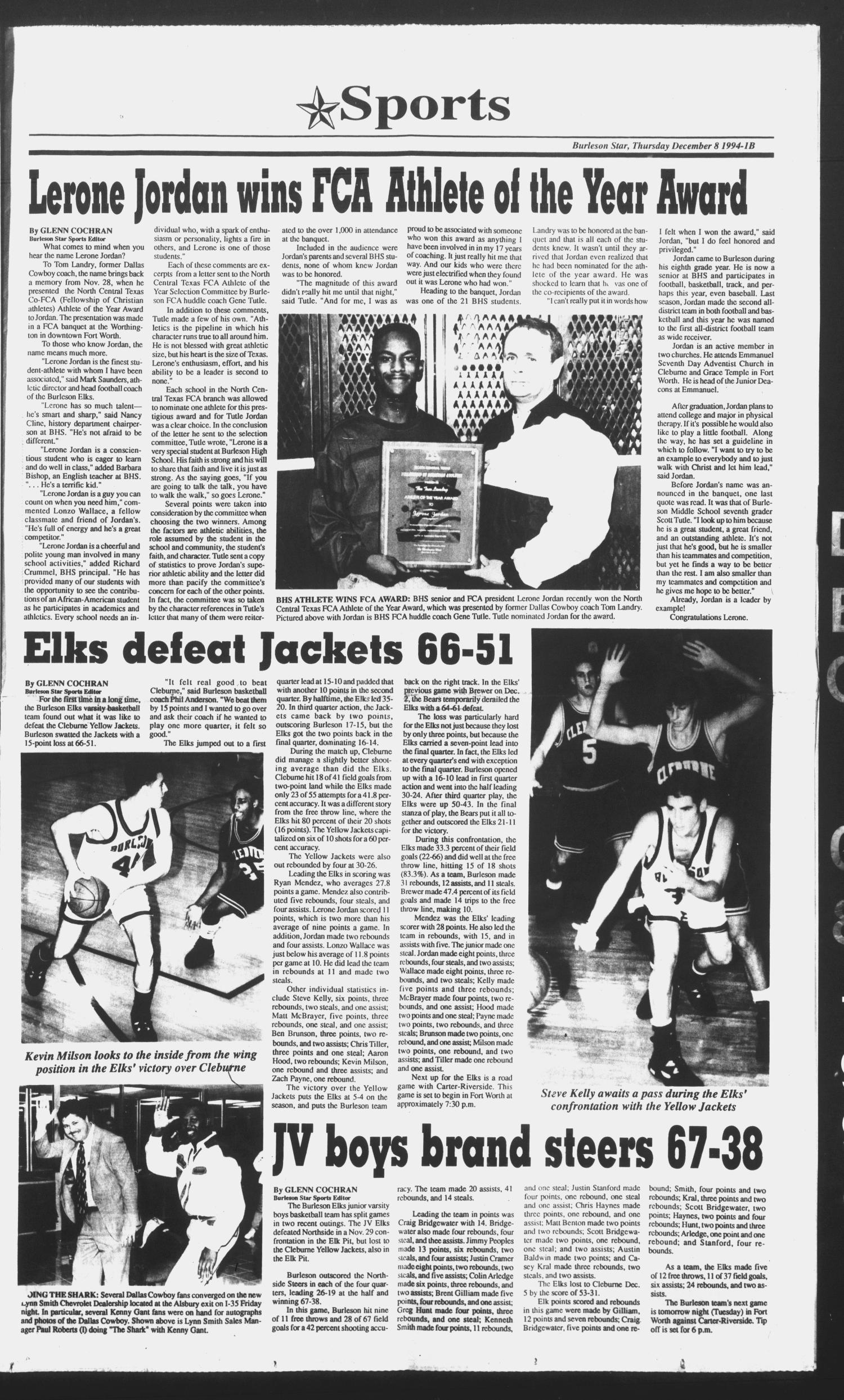 Burleson Star (Burleson, Tex ), Ed  1 Thursday, December 8, 1994