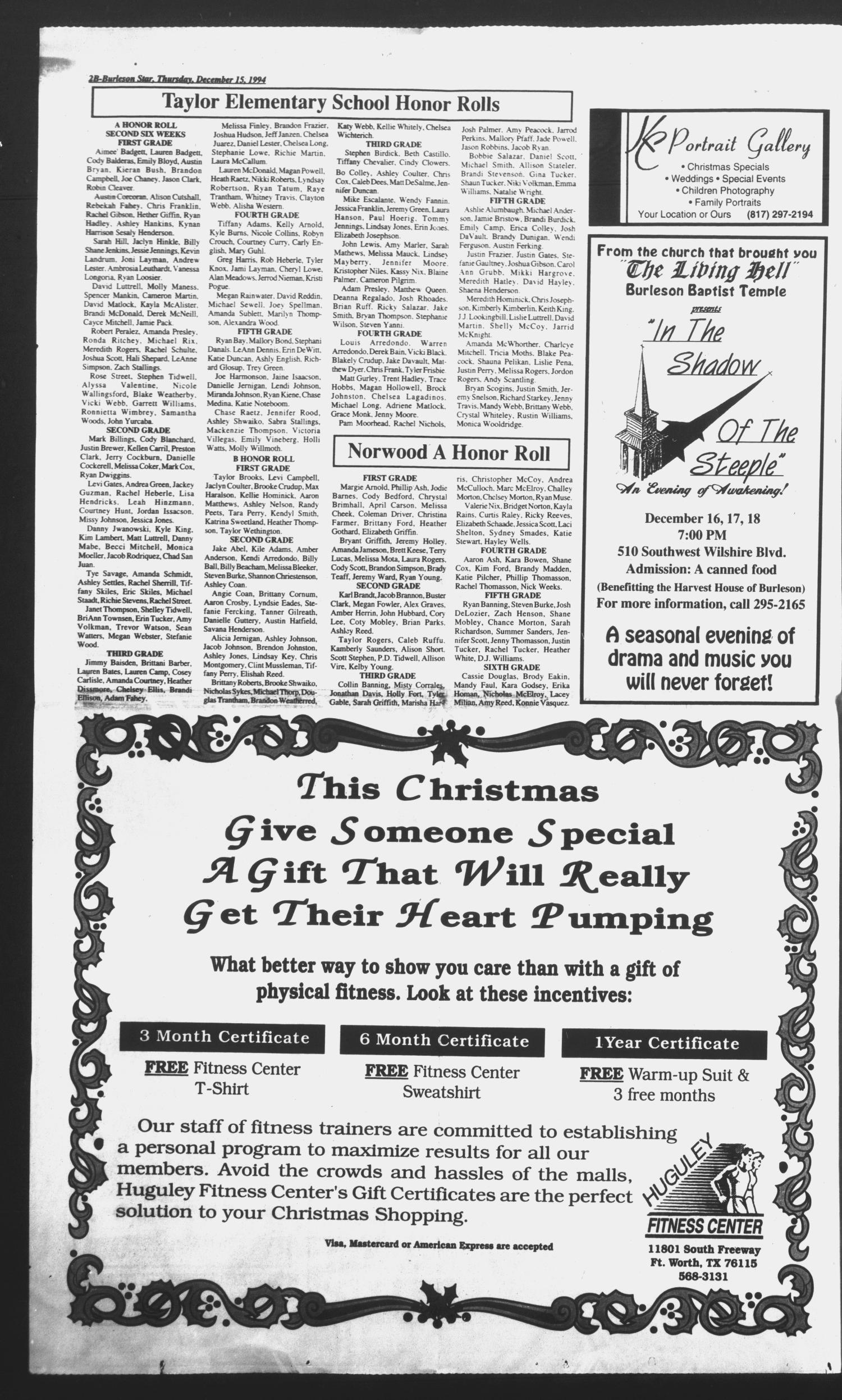 Burleson Star (Burleson, Tex.), Ed. 1 Thursday, December 15, 1994 ...