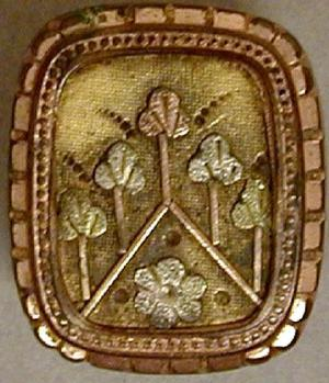 Primary view of object titled '[One of a pair of rectangular gold cuff links with engraved flowers]'.