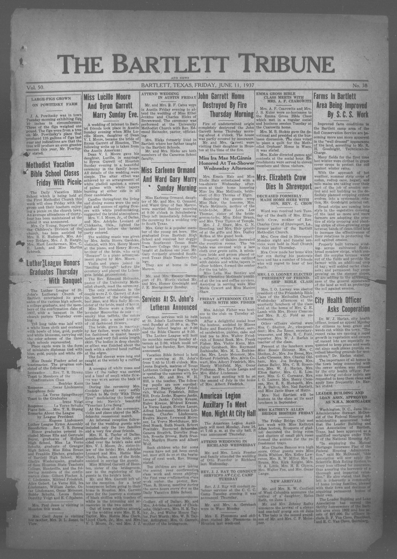 The Bartlett Tribune and News (Bartlett, Tex.), Vol. 50, No. 38, Ed. 1, Friday, June 11, 1937                                                                                                      [Sequence #]: 1 of 6