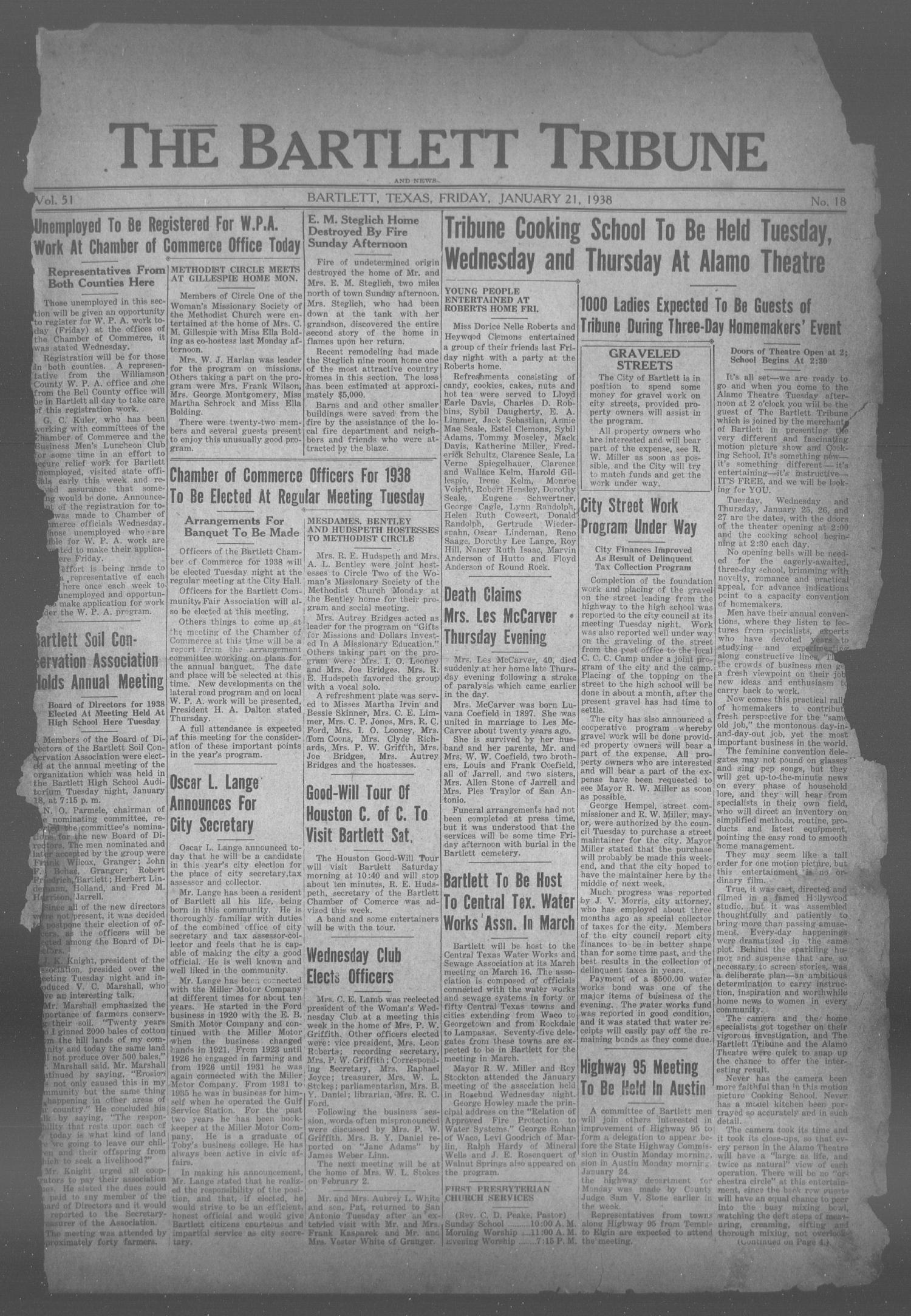 The Bartlett Tribune and News (Bartlett, Tex.), Vol. 51, No. 18, Ed. 1, Friday, January 21, 1938                                                                                                      [Sequence #]: 1 of 8