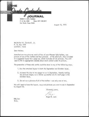 "[Letter with ""The Santa Gertrudis Journal"" letterhead]"