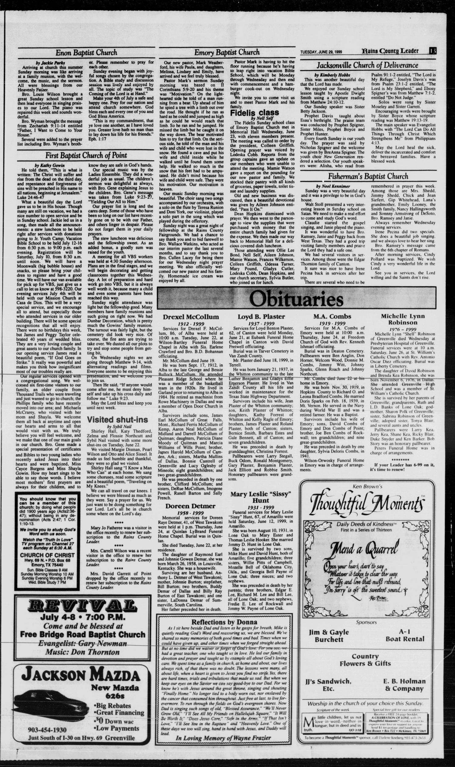 Rains County Leader Emory Tex Vol 112 No 3 Ed 1 Tuesday