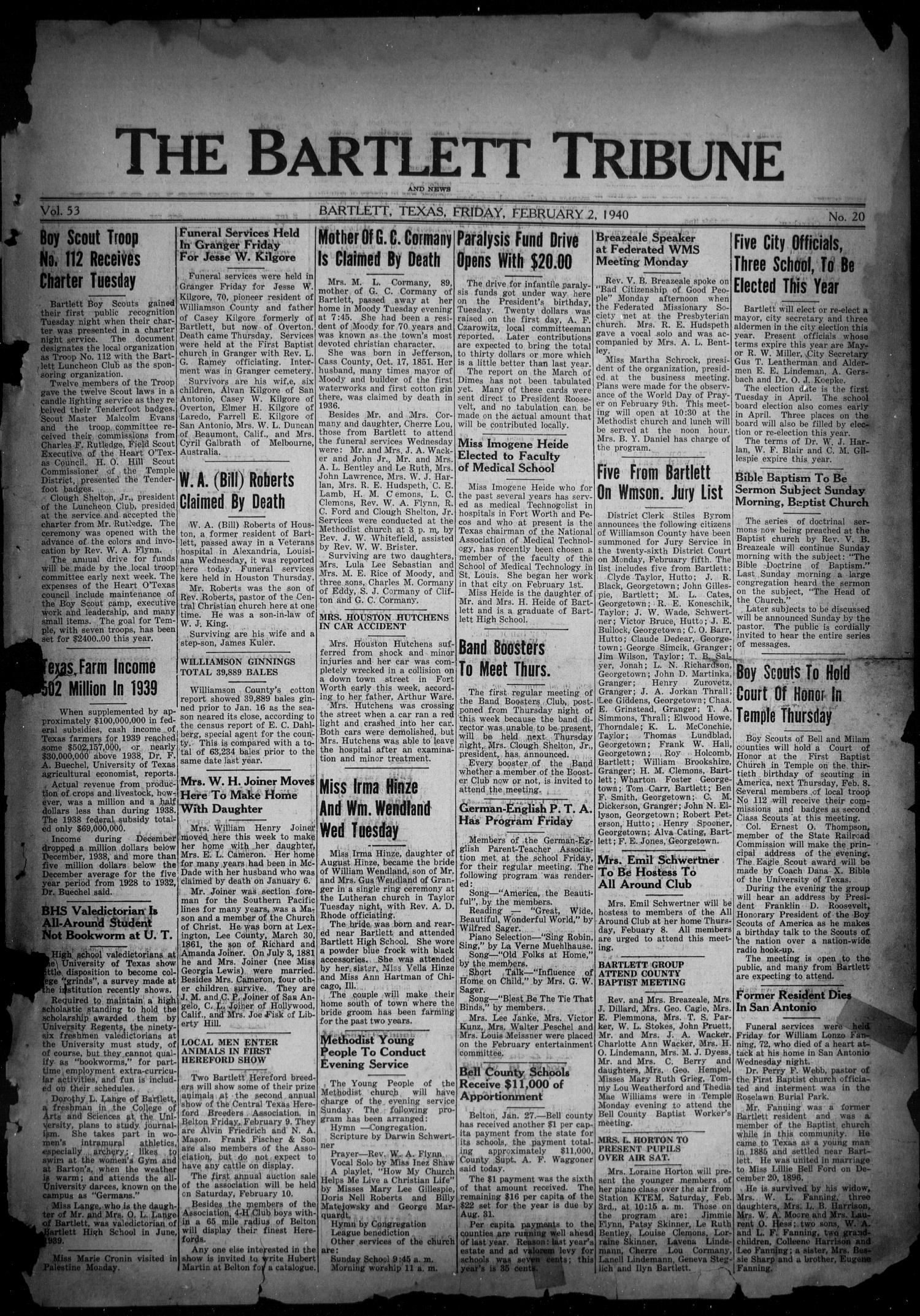 The Bartlett Tribune and News (Bartlett, Tex.), Vol. 53, No. 20, Ed. 1, Friday, February 2, 1940                                                                                                      [Sequence #]: 1 of 6
