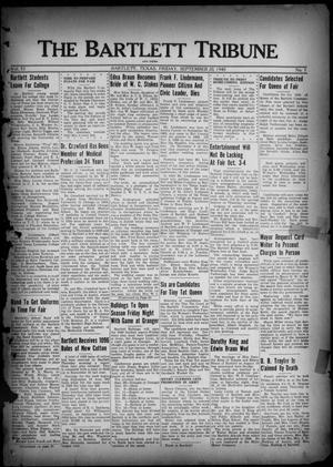 Primary view of object titled 'The Bartlett Tribune and News (Bartlett, Tex.), Vol. 54, No. 1, Ed. 1, Friday, September 20, 1940'.