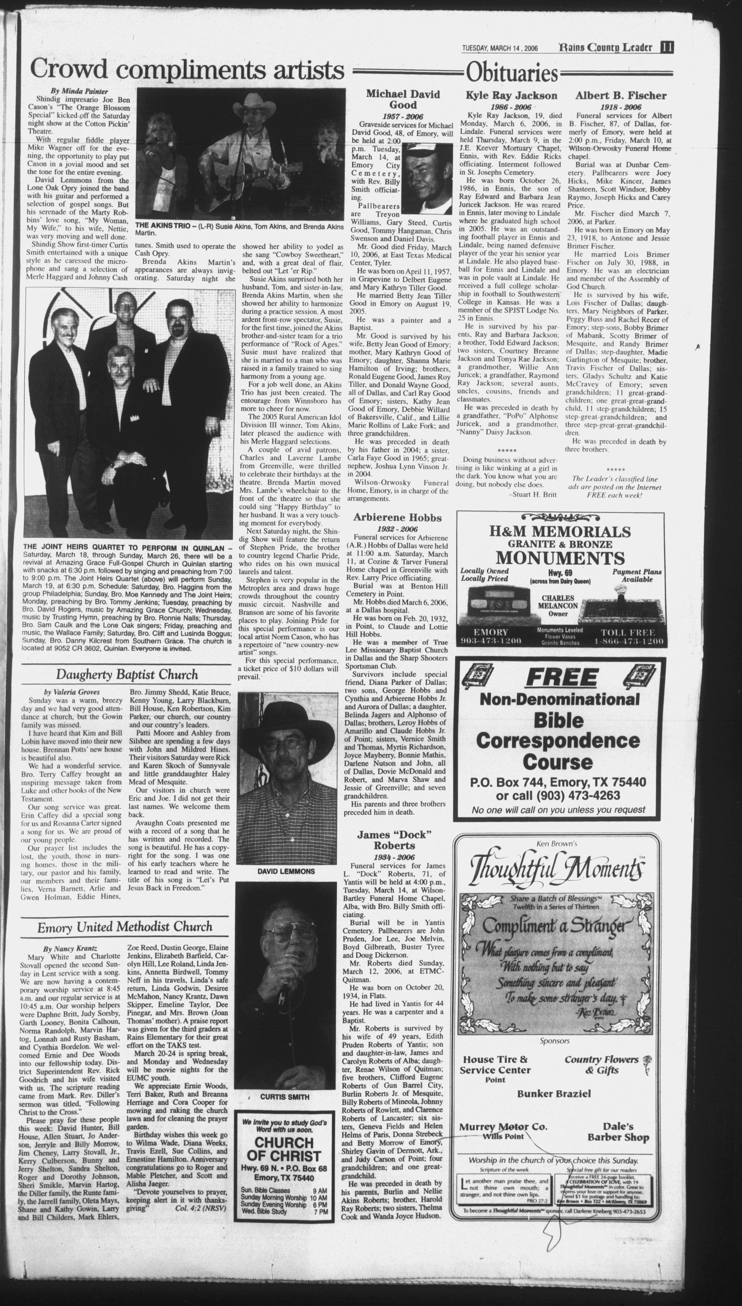 Rains County Leader Emory Tex Vol 118 No 39 Ed 1 Tuesday March 14 2006 Page 11 Of 14 The Portal To Texas History Director of photography, remi adefarasin; rains county leader emory tex vol