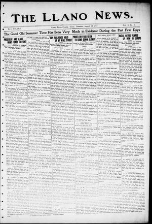 Primary view of object titled 'The Llano News. (Llano, Tex.), Vol. 36, No. 5, Ed. 1 Thursday, August 14, 1919'.