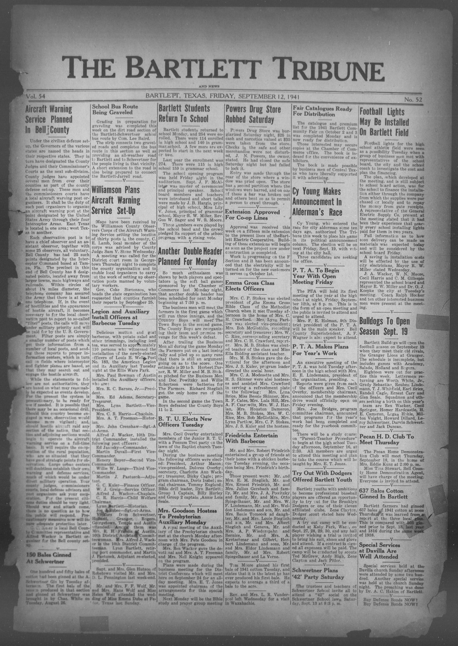 The Bartlett Tribune and News (Bartlett, Tex.), Vol. 54, No. 52, Ed. 1, Friday, September 12, 1941                                                                                                      [Sequence #]: 1 of 6