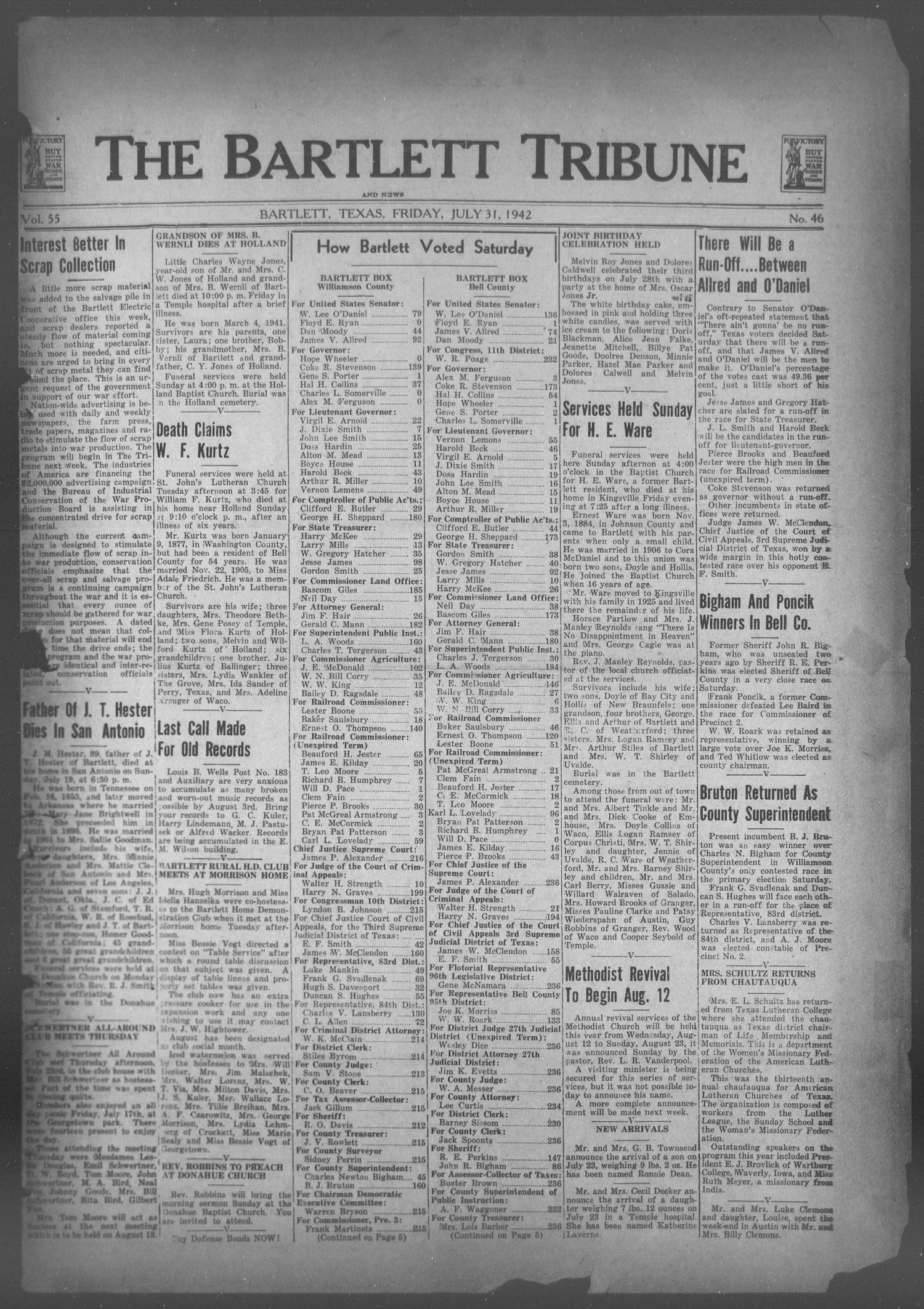The Bartlett Tribune and News (Bartlett, Tex.), Vol. 55, No. 46, Ed. 1, Friday, July 31, 1942                                                                                                      [Sequence #]: 1 of 6