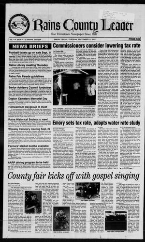 Primary view of object titled 'Rains County Leader (Emory, Tex.), Vol. 114, No. 14, Ed. 1 Tuesday, September 11, 2001'.