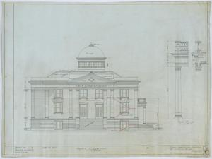 Primary view of object titled 'First Christian Church, Lufkin, Texas: Front Elevation'.