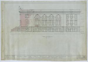 Primary view of object titled 'First Baptist Church, Breckenridge, Texas: North Side Elevation'.