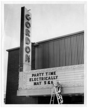 Primary view of object titled '[Gordon Theater Sign]'.