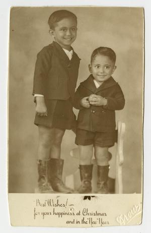 [Photograph of Two Young Siblings Posing for Holiday Pictures]