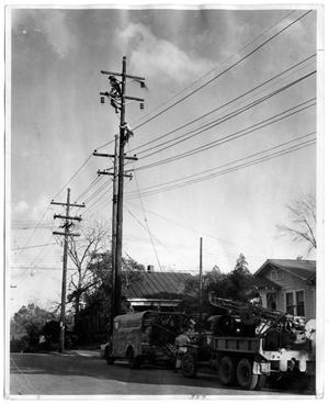 Primary view of object titled '[Men Working on Power Lines]'.