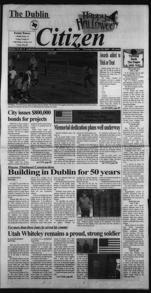 Primary view of object titled 'The Dublin Citizen (Dublin, Tex.), Vol. 18, No. 8, Ed. 1 Thursday, October 25, 2007'.