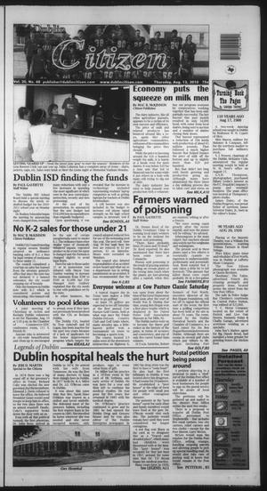Primary view of object titled 'The Dublin Citizen (Dublin, Tex.), Vol. 20, No. 48, Ed. 1 Thursday, August 12, 2010'.