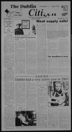 Primary view of object titled 'The Dublin Citizen (Dublin, Tex.), Vol. 14, No. 18, Ed. 1 Thursday, January 1, 2004'.