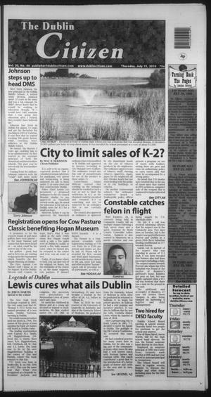 Primary view of object titled 'The Dublin Citizen (Dublin, Tex.), Vol. 20, No. 46, Ed. 1 Thursday, July 15, 2010'.