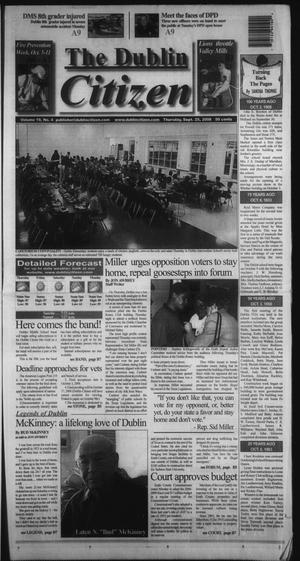 Primary view of object titled 'The Dublin Citizen (Dublin, Tex.), Vol. 19, No. 4, Ed. 1 Thursday, September 25, 2008'.