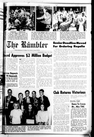 Primary view of object titled 'Texas Wesleyan Rambler (Fort Worth, Tex.), Vol. 44, No. 23, Ed. 1 Wednesday, April 15, 1970'.