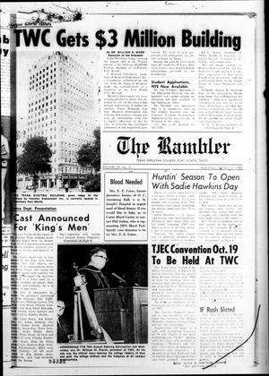 Primary view of object titled 'The Rambler (Fort Worth, Tex.), Vol. 43, No. 3, Ed. 1 Wednesday, October 2, 1968'.