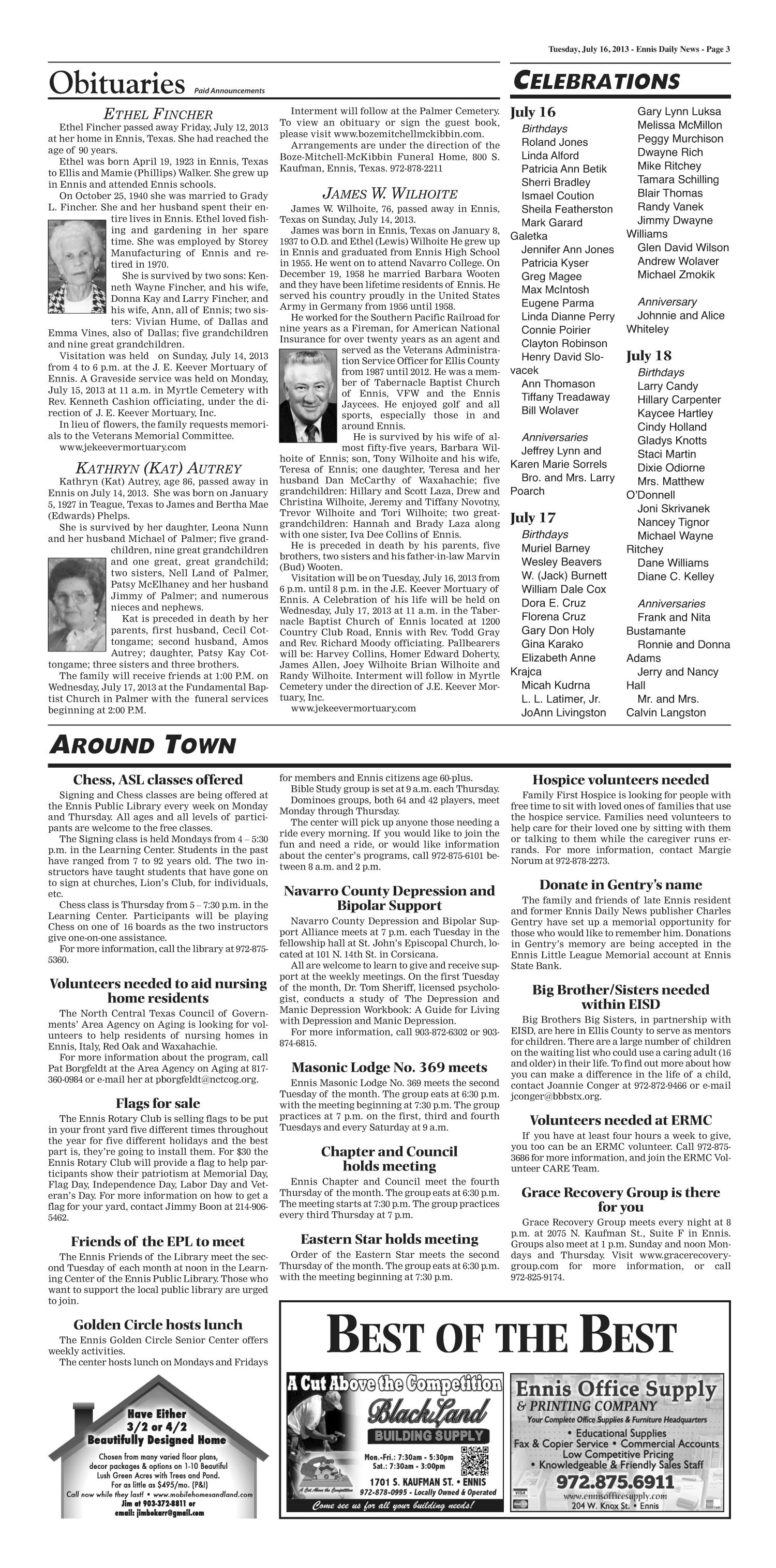 The Ennis Daily News (Ennis, Tex.), Ed. 1 Tuesday, July 16, 2013   Page 3  Of 8   The Portal To Texas History