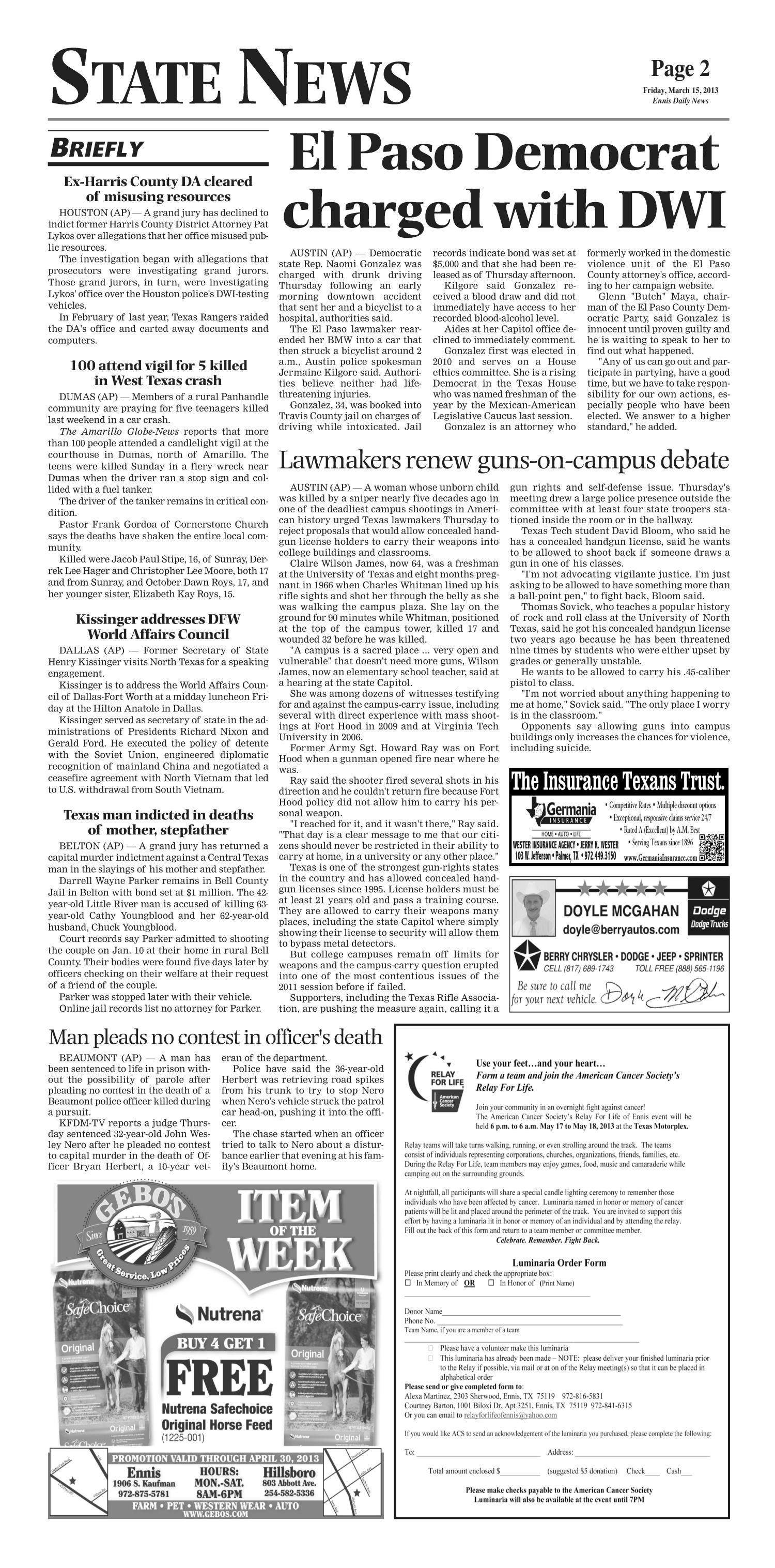 The Ennis Daily News (Ennis, Tex.), Ed. 1 Friday, March 15, 2013                                                                                                      [Sequence #]: 2 of 10