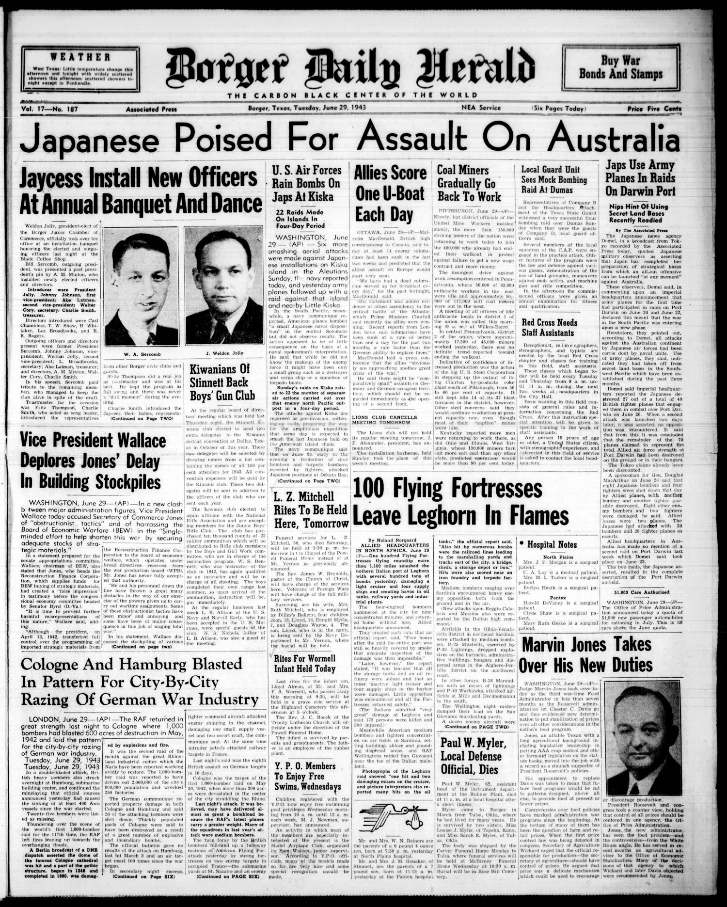 Borger Daily Herald (Borger, Tex.), Vol. 17, No. 187, Ed. 1 Tuesday, June 29, 1943                                                                                                      [Sequence #]: 1 of 5