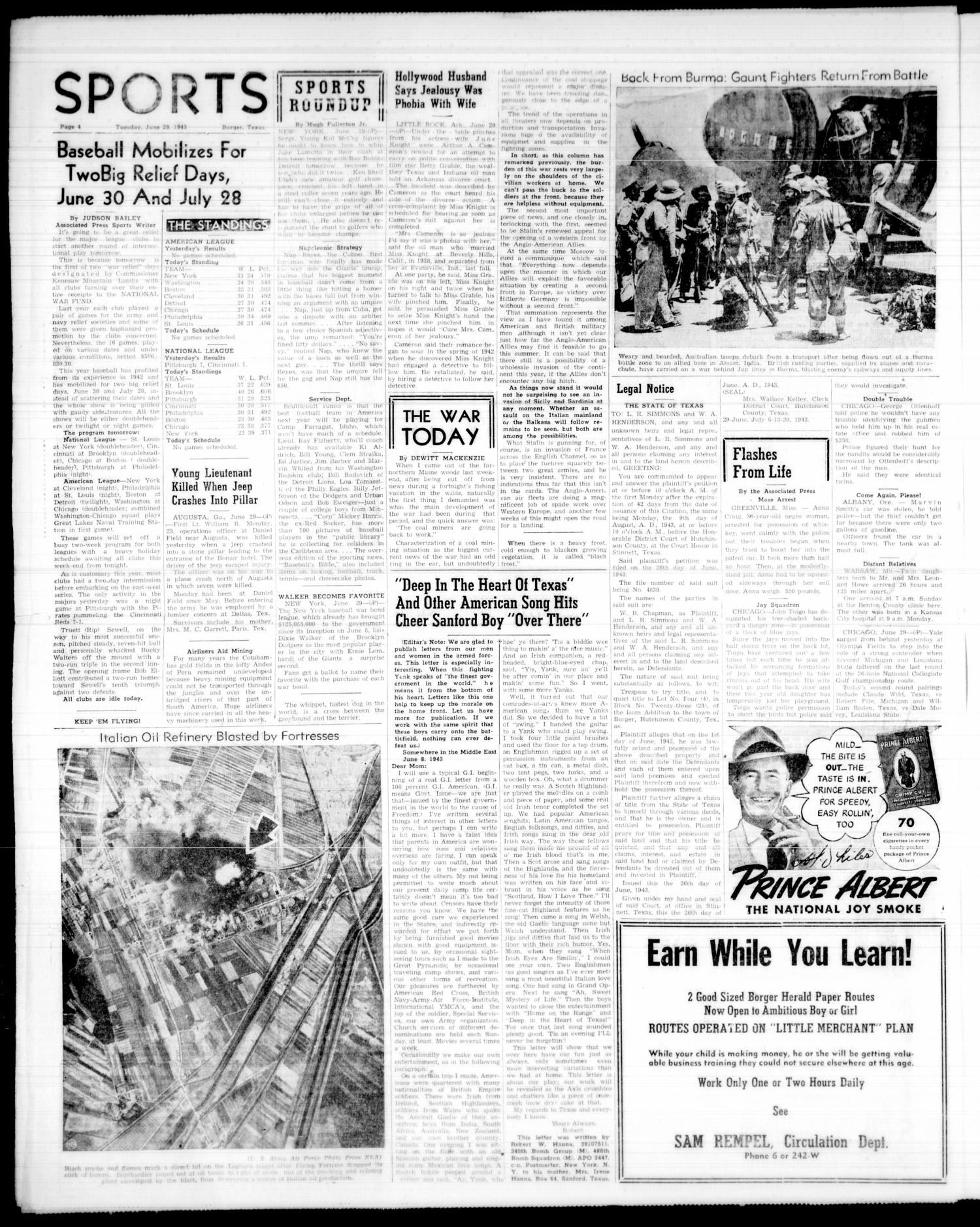 Borger Daily Herald (Borger, Tex.), Vol. 17, No. 187, Ed. 1 Tuesday, June 29, 1943                                                                                                      [Sequence #]: 4 of 5