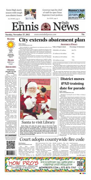 Primary view of object titled 'The Ennis Daily News (Ennis, Tex.), Ed. 1 Tuesday, November 27, 2012'.