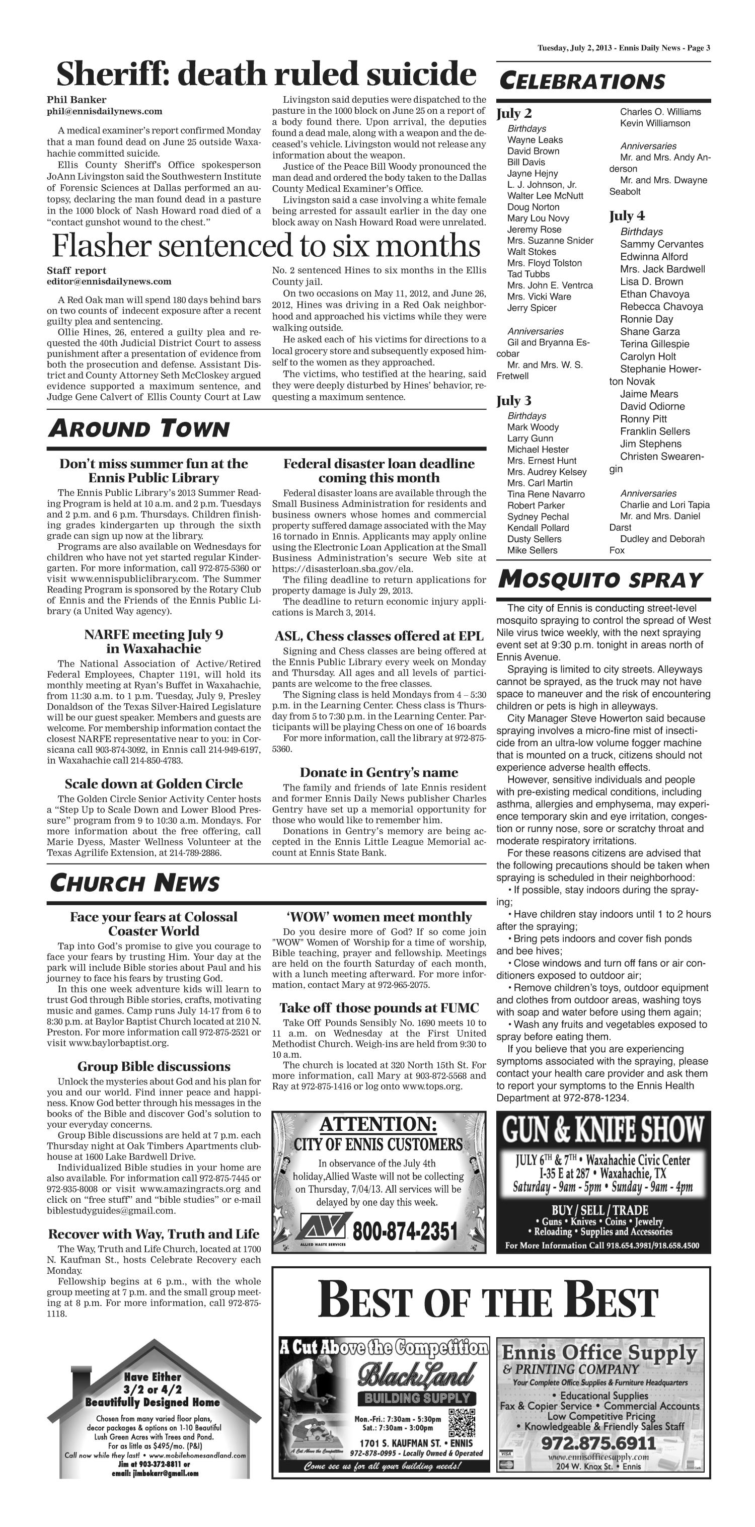 The Ennis Daily News (Ennis, Tex.), Ed. 1 Tuesday, July 2, 2013   Page 3 Of  8   The Portal To Texas History