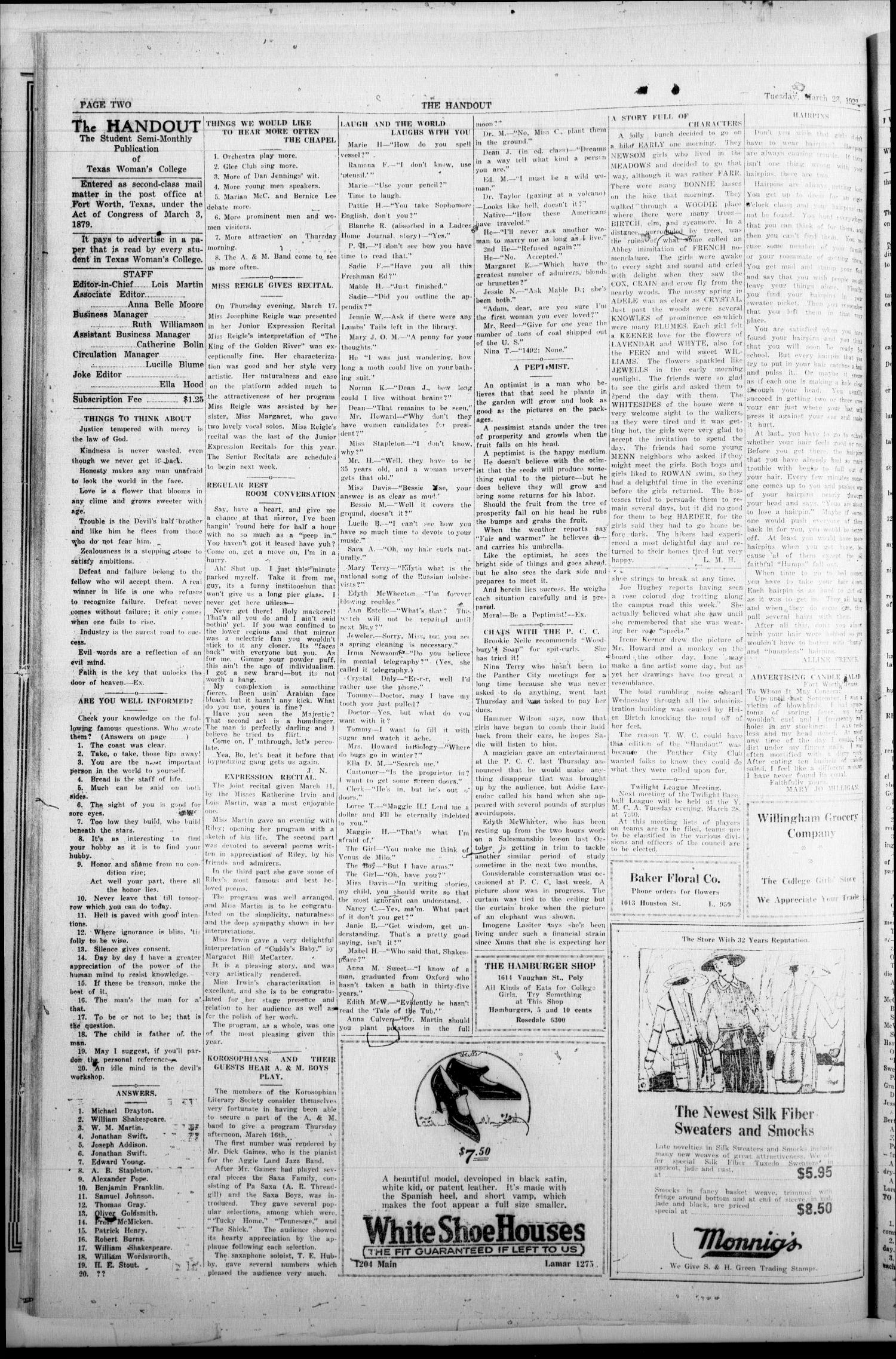 The Handout (Fort Worth, Tex.), Vol. 6, No. 12, Ed. 1 Wednesday, March 22, 1922                                                                                                      [Sequence #]: 2 of 4