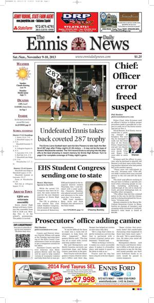 Primary view of object titled 'The Ennis Daily News (Ennis, Tex.), Ed. 1 Sunday, November 10, 2013'.