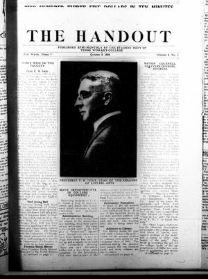Primary view of object titled 'The Handout (Fort Worth, Tex.), Vol. 8, No. 1, Ed. 1 Thursday, October 5, 1922'.
