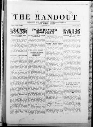Primary view of object titled 'The Handout (Fort Worth, Tex.), Vol. 8, No. 8, Ed. 1 Friday, February 9, 1923'.