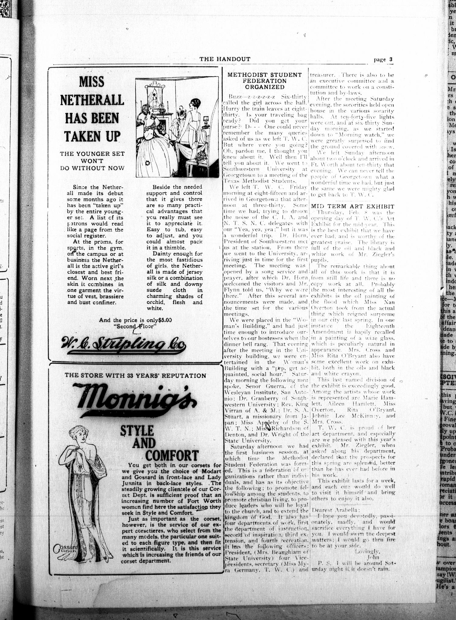 The Handout (Fort Worth, Tex.), Vol. 8, No. 8, Ed. 1 Friday, February 9, 1923                                                                                                      [Sequence #]: 3 of 8