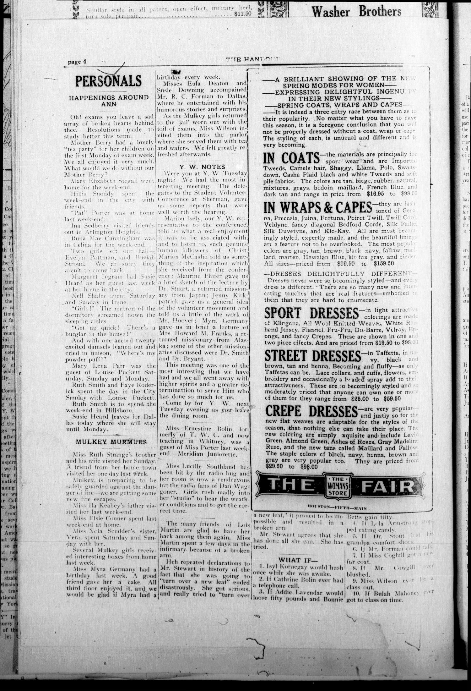 The Handout (Fort Worth, Tex.), Vol. 8, No. 8, Ed. 1 Friday, February 9, 1923                                                                                                      [Sequence #]: 4 of 8