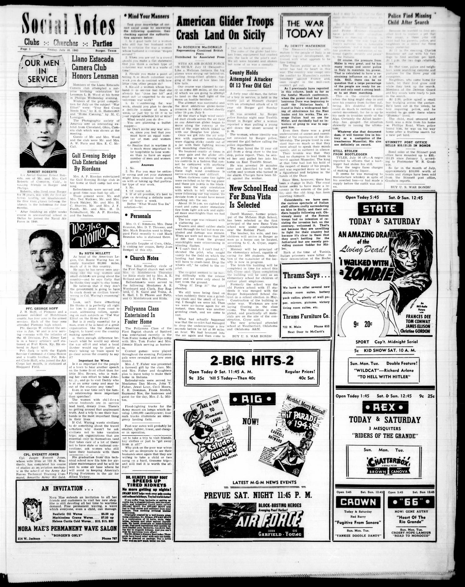 Borger Daily Herald (Borger, Tex.), Vol. 17, No. 202, Ed. 1 Friday, July 16, 1943                                                                                                      [Sequence #]: 3 of 6