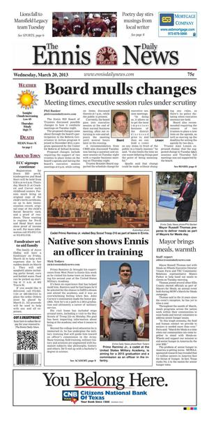 Primary view of object titled 'The Ennis Daily News (Ennis, Tex.), Ed. 1 Wednesday, March 20, 2013'.