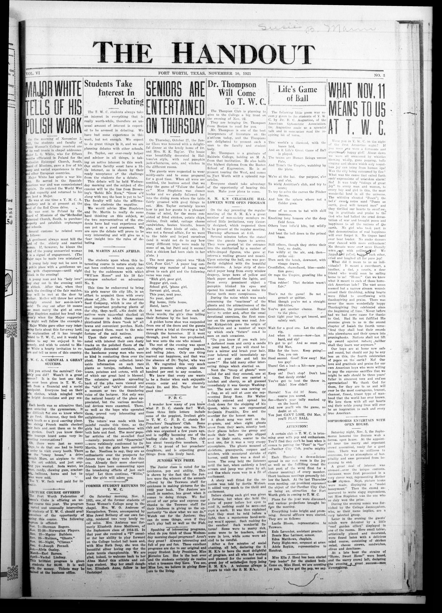 The Handout (Fort Worth, Tex.), Vol. 6, No. 3, Ed. 1 Thursday, November 10, 1921                                                                                                      [Sequence #]: 1 of 4