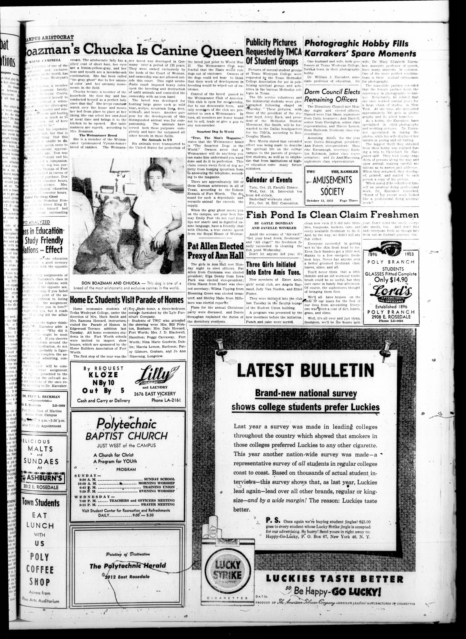 The Rambler (Fort Worth, Tex.), Vol. 26, No. 5, Ed. 1 Tuesday, October 13, 1953                                                                                                      [Sequence #]: 3 of 4